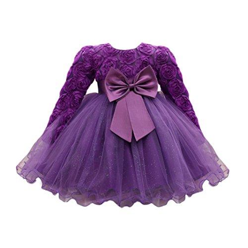 Lenfesh Baby Mädchen Blumen Bowknot Prinzessin Kleider Brautjungfer Geburtstag Hochzeit Kleid (18 Monate, Lila)