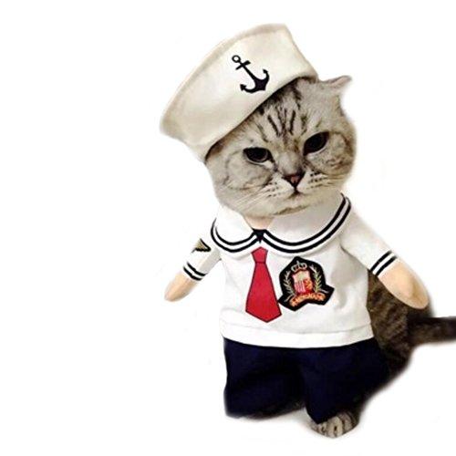 Halloween Kostüm Cute Sailor - Worderful Hund Sailor Kostüm Pet Cute Coat Puppy Kleidung Katze Navy Anzug Apperal mit Hoodies für Kleine und Mittelgroße Hunde, L, Weiß
