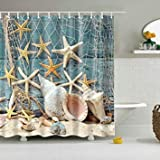 Eco-Friendly Beach Conch Starfish Shell Polyester Washable Bath Decor Shower Curtains