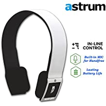 Astrum RAGA BT HS240 Bluetooth CSR 4.0 Wireless Stereo Headphones Headset Earphones w Built-in Mic for Apple iPhone, iPad, Samsung, Nexus, LG, Sony, HTC - Compatible with Most Smartphones - (White)