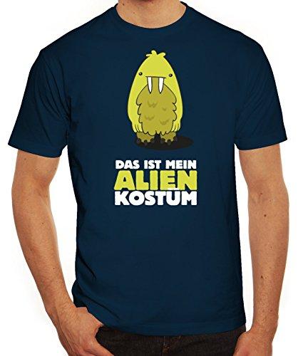 Fasching Karneval Herren T-Shirt mit Das ist mein Alien Kostüm 8 Motiv von ShirtStreet Dunkelblau