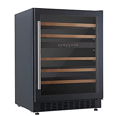 Cookology CWC605BK Undercounter 46 Bottle 60cm Two Zone Wine Cooler in Black 5-20C