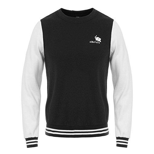 AIRAVATA Herren Kapuzenpullover Crewneck Fleece Winter Schwergewicht Slim Fit Sportkleidung Sweatshirt Schwarz
