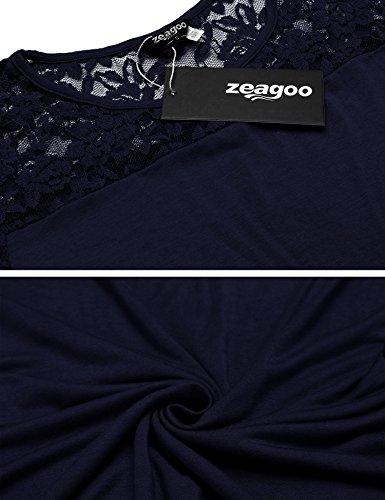 4da29d885a43 ... Zeagoo Damen Kurzarm T-Shirt Aus Floral Spitze Basic Shirt Spiztenshirt  Tunika Baumwolle Tops Hemd ...