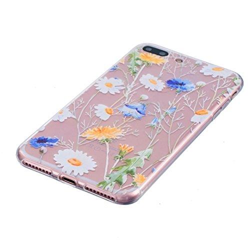 Custodia Per iphone 6 plus/6S plus(5.5) ,KSHOP Silicone TPU Flessibile Silicone Gel Custodia Case Cover posteriore morbida Trasparente + Dipinto - unicorno fiore