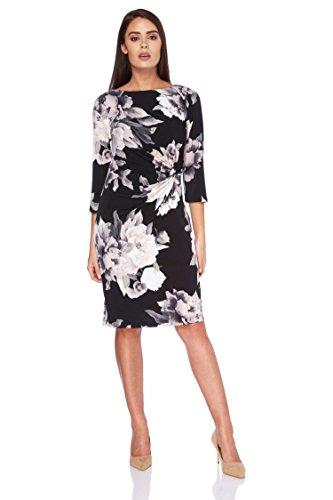 Roman Originals Damen Monochrom Rosen Knoten Detail Kleid Violett - Schwarz - Größe 40