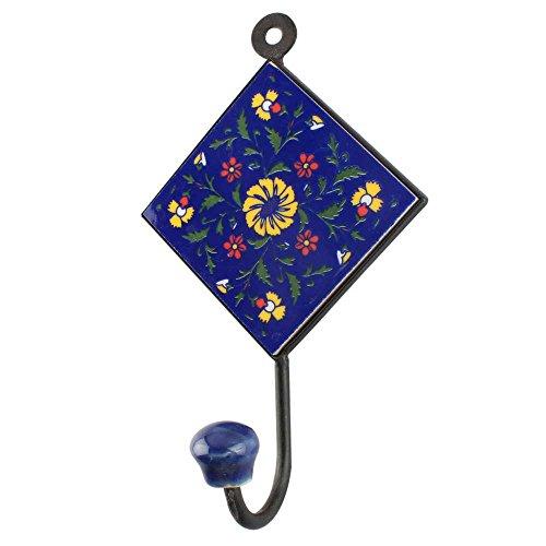indianshelf Handgefertigt Keramik Blue Wheel Blume Tile Wand Haken/Halter/Hänger 1stück (hk-1551) Standard Blau (Blau Utility Shelf)