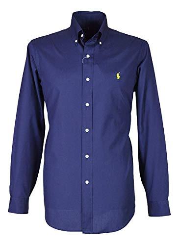 Ralph lauren polo da uomo custom fit popeline camicia blu bianco nero s–xxl, blu navy, small