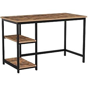 VASAGLE Schreibtisch, Computertisch, PC-Tisch, Bürotisch, mit 2 Regalebenen auf der rechten oder linken Seite, fürs Büro…
