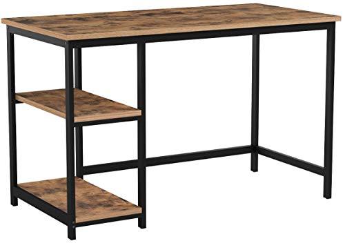 VASAGLE Schreibtisch, Computertisch im Industrie-Design, PC-Tisch, Bürotisch mit 2 Regalebenen rechts oder links, Arbeitstisch fürs Büro, Wohn zimmer, einfache Montage, Holzoptik, Vintage LWD47X