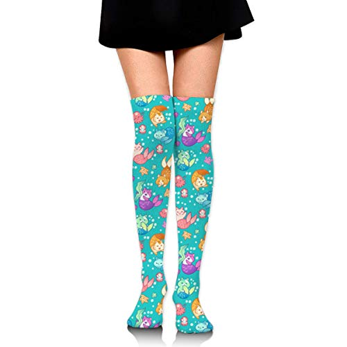 Jxrodekz Knee High Socks Cat Mermaids Teal Long Socks Boot Stocking Compression Socks for Women