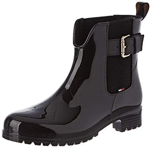 Tommy Hilfiger Damen COOL Tommy Ribbon Rainboot Gummistiefel, Schwarz (Black 990), 39 EU