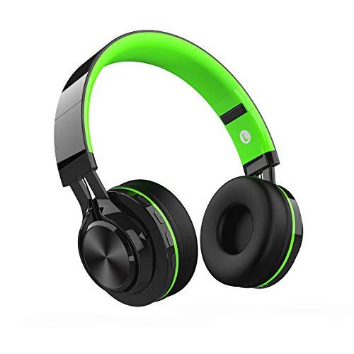 Cuffie bluetooth senza fili, wireless over ear cuffie portatili pieghevole con microfono (nero&verde)