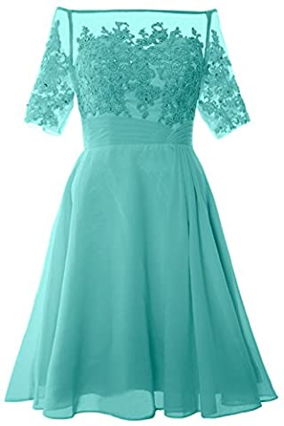 MACloth Women Off Shoulder Mother of Bride Dress with Sleeve Midi Cocktail Dress (UK22, Turquoise)