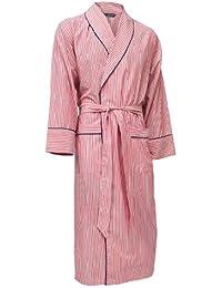 Lloyd Attree & Smith - robe de chambre légère 100% coton - rayé rouge - homme