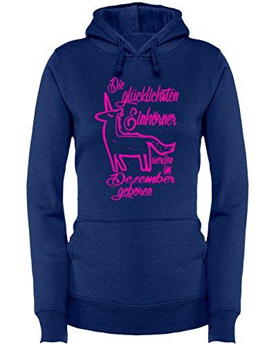 Die Glücklichsten Einhörner werden im Dezember geboren! Perfektes Geschenk zum Geburtstag - Damen Hoodie Navy/Neonpink