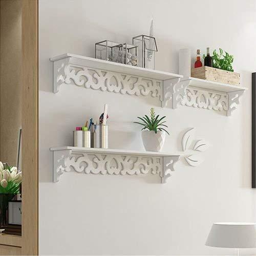 Homezone 3er Set Shabby Chic Stil schwimmende Wand Regale Bücherregal weiß Wandmontage dekorativ Display Wand Regal Lagerregal -