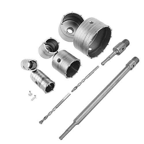 TCT Kernbohrer-Set, 10 Stück, TCT Kernbohrer-Set, 35 mm, 40 mm, 50 mm, 65 mm, 82 mm, 110 mm mit 300 mm SDS Verlängerung