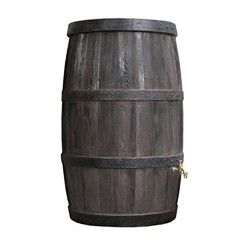 Regentonne Regenspeicher Burgund 500 Liter in dunkelbraun aus UV- und witterungsbeständigem Material. Regenfass bzw. Regenwassertonne mit kindersicherem Deckel und hochwertigen Messinganschlüssen.