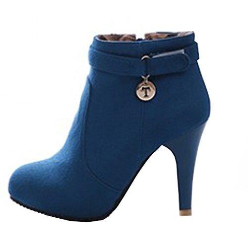 VECJUNIA Damen Faux Wildleder Runde Toe Stiefel High Heel Reitschuhe mit Seitlichem Reißverschluss...