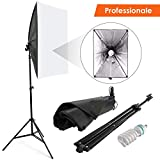 Amzdeal Softbox Kit 50x70cm Illuminazione Continua con 135W...