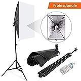 Amzdeal Softbox Kit 50x70cm Illuminazione Continua con 135W Lampade e cavalletto regolabile per fotografia in studio