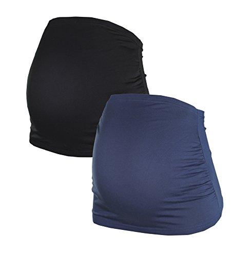 Bauchband für Schwangere im Doppelpack-Set, Umstands-Schwangerschafts-Bauchbänder aus Baumwoll-Mix, in Schwarz, Grau, Blau, Grau-gestreift, HERZMUTTER (6000) (M, (Korsett Schlichtes Schwarzes)