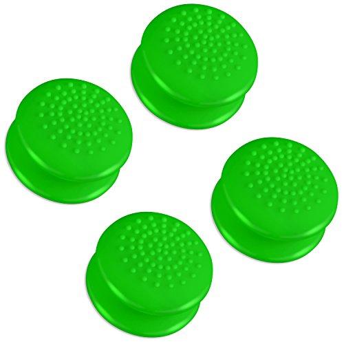 Fosmon [4 pack / 2 Pair] Analog Stick Joystick Controller Performance Thumb Grips Cubierta Protectora de Apretones de Pulgar de Silicona para PS4 | PS3 | Xbox One / One X / ONE S | Xbox 360 | Wii U (Verde Sólido)