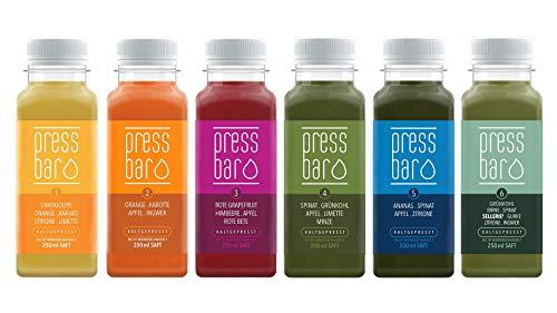 5 Tage Saftkur von pressbar - 30 Flaschen - 6 verschiedene Säfte pro Tag. Kaltgepresste Säfte für Deine Kur - hochwertige natürliche Obst & Gemüse Säfte - Achtung: Kühlware, nach Erhalt sofort kühlen
