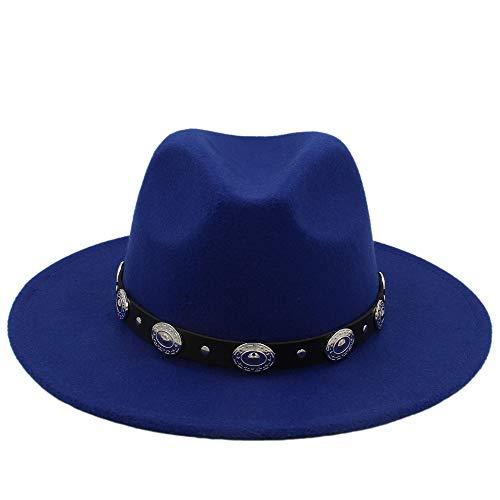 Baianf Unisex Wolle Jazz Hüte Herren Fedora Hut Heißer Billig Frauen Filzhut Cowboy Panama Hüte Für Frauen Derby Fedoras (Farbe : Blau, Größe : 56-58CM)