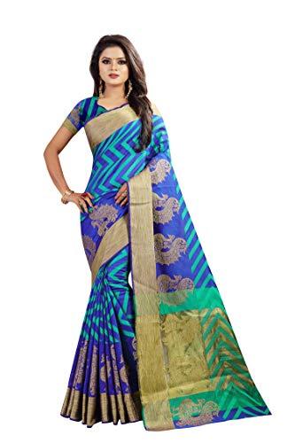 Vahni Women's Cotton Silk Saree with Blouse Piece(JDS-Saree_Purple_Free Size)