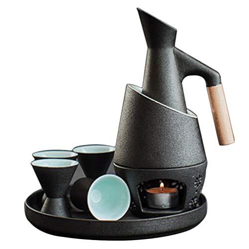 Hochwertige 8-teilige Sake-Sets, Keramik-Sake im japanischen Stil, Geschenkset aus Holz, Anti-Verbrühungs-Griff, Isolierwerkzeug, rutschfest Geeignet für alle Jahreszeiten