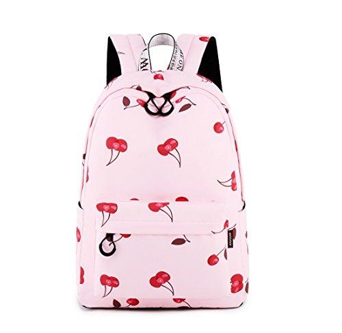 Acmebon Mochila Escolar Impermeable Elegante para Niña Adolescente Espaciosa Mochila Monedero para Mujeres Cereza