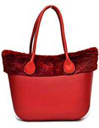 borsa bag spalla DONNA fantasia silicone manici sacca scocca completa  ricamati bordo pelliccia pelo smontabile 3b1e9d1d766