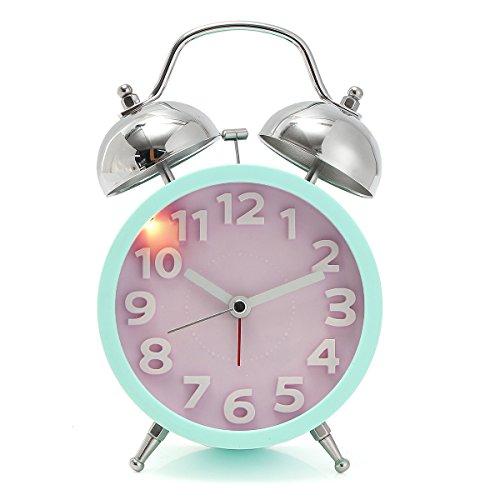 Glockenwecker von Baban Doppelglockenwecker mit Nachtlicht Klassik Wecker Grün Clock elegant Alarm...