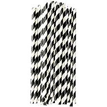 Diseño de papel de paja de rayas negro/blanco (Pack of 25) L: 20 cm de diámetro: 0.5 cm