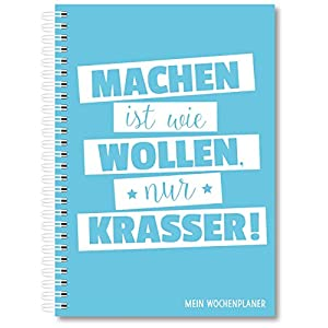 Kalender Wochenplaner für 2020 ohne festes Datum Din A5 Ringbuch 1 Woche auf 2 Seiten Terminplaner Taschenkalender Terminkalender Planer Blau für Frauen mit Monatsübersicht