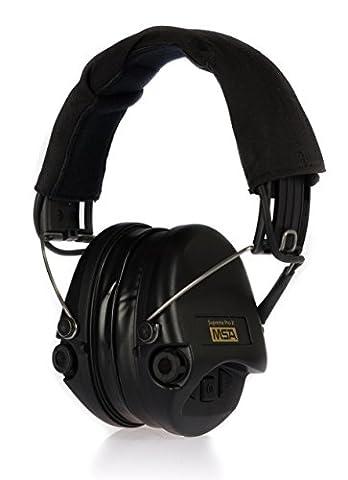 MSA Sordin Supreme Pro X - Aktiver Profigehörschutz, inkl. superbequeme Gelkissen / Ausführung: schwarzes Stoffkopfband u. schwarze Cups / AUX-Eingang