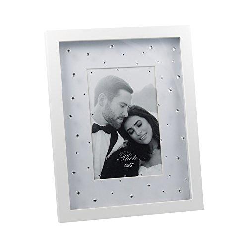 Strass-album (Portrait Bilderrahmen mit Strass-Steine weiß matt lackiert ca. 19x24 cm für Fotos 10x15 cm)