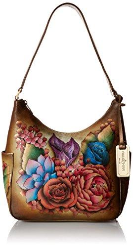 Anuschka handbemalte Ledertasche, Schultertasche für Damen, Handgefertigte Handtaschen für Frauen, Hobo Umhängetasche mit Seitentaschen ( Blumen Lush Lilac- Bronze 382 LLC-BZ) - Leder Side Pocket Hobo