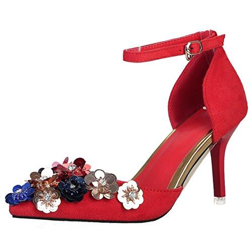 AIYOUMEI Damen Knöchelriemchen Spitz Wildleder Stiletto High Heels Pumps mit Blumen Absatz Kleinem Absatz Schuhe rot(8cm)