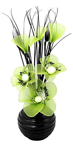 Grün Künstliche Blumen Mit Schwarz Vase, Deko, Wohnaccessoires & Deko Geeignet für Bad, Schlafzimmer Oder Küche Fenster / Regal, 32cm