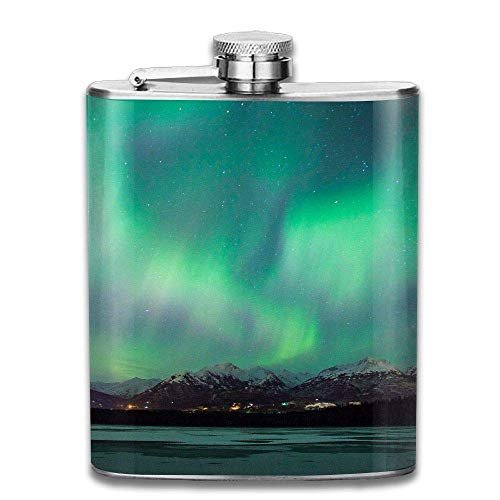 Mountain Lake Jungle Aurora Green Fashion Portable Stainless Steel Hip Flask Whiskey Bottle 7 Oz