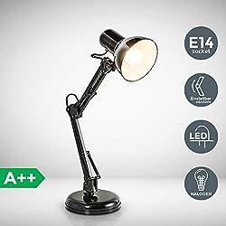Lampada da tavolo retro, interruttore on off, luce orientabile, lampada da scrivania classica per l'illuminazione da interno, corpo metallo, color nero, attacco lampadina E14 (non inclusa) 230V IP20