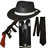 Gangster Fancy Dress 4 Pieza Disfraz (Negro)