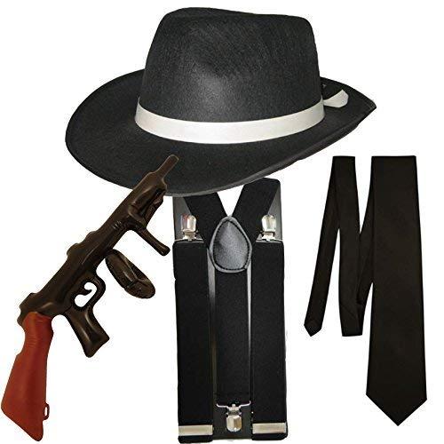Damen 1930er Kostüm Jahre - Gangster Fancy Dress 4 Stück Kostüm (Schwarz)
