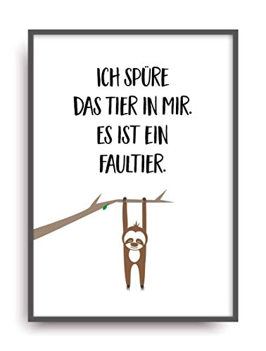 faultier poster Kunstdruck TIER IN MIR Poster Bild ungerahmt DIN A4 Geschenk