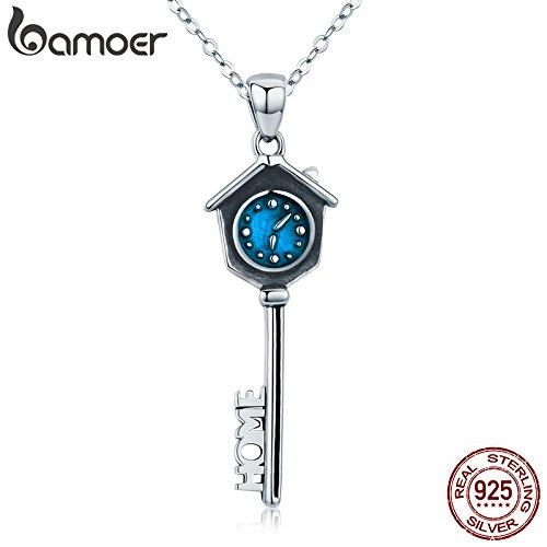 Hohe Qualität 100% 925Sterling Silber Schlüssel Uhr von Family Time Anhänger Halsketten für Frauen Fashion Silber - Frauen Uhren Silber Sterling