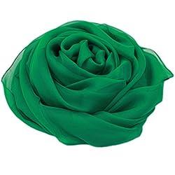 MEISHINE® 180 * 110cm Mujer 100% Seda Fular Pañuelo Bufanda Estola Chal Ideal for Evening Wedding Ceremony (Verde)