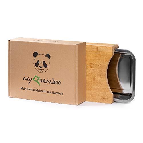 myQuamboo Schneidebrett aus Bambus mit Auffangschale aus Edelstahl inkl. Anti-Rusch-Pads | Bambus Küchenbrett | spülmaschinenfest